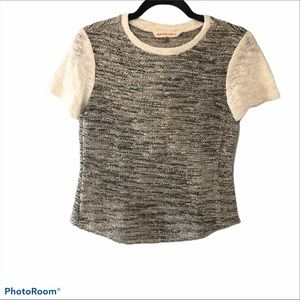 Rebecca Taylor short sleeve knit shirt gray white